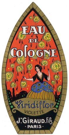 An poster sized print, approx (other products available) - Perfume label in art deco style, Eau de Cologne Viridiflor from Jean Giraud Fils, Paris. Date: circa - Image supplied by Mary Evans Prints Online - Poster printed in the USA Vintage Labels, Vintage Ads, Vintage Posters, Jean Giraud, Fine Art Prints, Framed Prints, Canvas Prints, Lino Prints, Block Prints