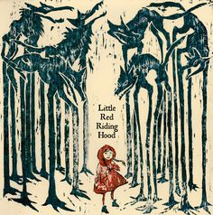 Little Red Riding Hood (Black Forest) (Woodblock Print by Hanae Rivera.