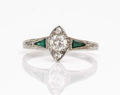 Circa 1915 Unique Marquise Shaped Emerald & Diamond 18k Gold
