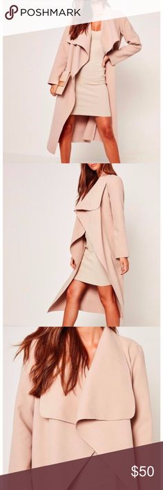 MissGuided HOUSE OF CB WATERFALL TRENCH COAT MissGuided BY HOUSE OF CB NUDE WATERFALL  TRENCH DUSTER COAT UK12/EU40/US8 BRAND NEW WITH TAGS   Long trench coat that is versatile and can be paired with high waisted jeans or a bodycon dress. MissGuided BY HOUSE OF CB Jackets & Coats Trench Coats