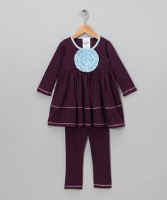 Take a look at this Eggplant Peony Tunic & Leggings - Toddler & Girls by Freckles + Kitty on #zulily today!  #fall