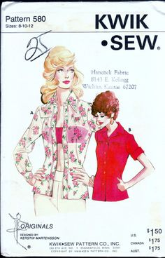 KWIK SEW 580 MISSES FRONT BUTTON CLOSURE BLOUSE SEWING PATTERN SIZE 8-10-12 NEW