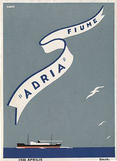 """Timetable for """"'Adria' - Fiume,"""" 1936. Signed """"Gauss."""" Back cover."""