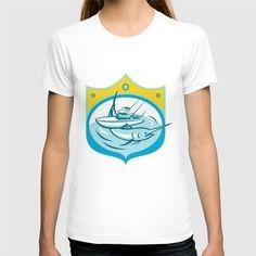 Blue Marlin Charter Fishing Boat Retro T-shirt. Illustration of a blue marlin and charter fishing boat in sea set inside shield crest done in retro style. #illustration #BlueMarlin