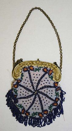 Reasonable Antique Art Deco Checker Crochet Iridescent Peacock Blue Bead Drawstring Purse Antiques Vintage