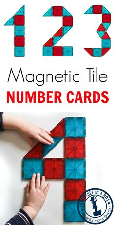 great addition to a math corner for preschool and kindergarten these printable cards encourage kids to make numbers from Magna-Tiles Picasso Tiles and other magnetic tiles. Preschool Classroom, Preschool Learning, Teaching Math, Preschool Activities, Preschool Kindergarten, Patterning Kindergarten, Shark Activities, Teaching Numbers, Numbers Kindergarten