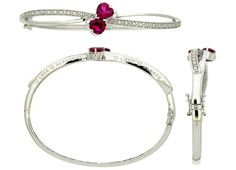 Sterling Silver Created Ruby Diamond Bangle | Charm Diamond Centres