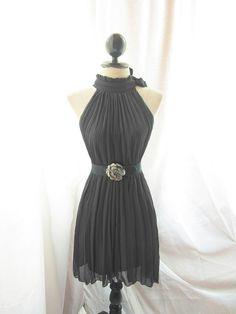 151 Classic Romantic Spring Chiffon Secret Garden Twilight CocktailPleated Little Black Dress.