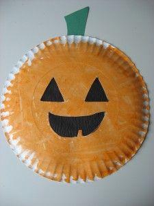 An Easy Halloween Craft & Game: paper plate jack-o-lantern and pumpkin drop