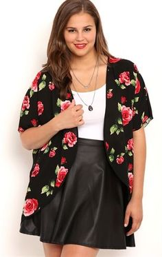 Deb Shops Plus Size Short Sleeve Kimono with Rose Print