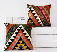 Engin / SET 2 Piece Hand Woven Kilim Pillow Cover by pillowcome, $80.00