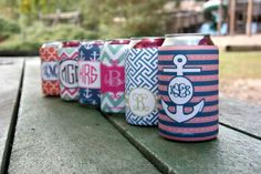 Personalized koozies from Initial Outfitters.  Great for a bridal party or a beach bachelorette party! $18 each