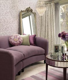 Find sophisticated detail in every Laura Ashley collection - home furnishings, children's room decor, and women, girls & men's fashion. Lilac Living Rooms, My Living Room, Living Room Decor, Purple Home Decor, Purple Interior, Diy Design, Interior Design, Décor Violet, Salons Violet