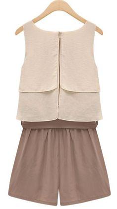 Chocolate Sleevelss Ruffle Bow Waist Chiffon Jumpsuit -