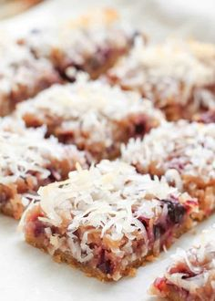 Fresh Cherry Coconut Bars (traditional and gluten free recipes) by Barefeet In The Kitchen. I would switch the cherries for raspberries Gluten Free Cooking, Gluten Free Desserts, Gluten Free Recipes, Delicious Desserts, Dessert Recipes, Cooking Recipes, Coconut Bars, Coconut Recipes, Cherry Recipes Healthy