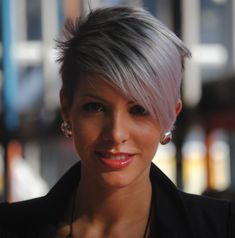 Silver asymmetric Pixie style. If and when I decide to cut my hair short again! Love it