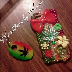 Rasta bling phone case for an iPhone 5 with matching keychain ....... call/text 248 785 7470 , FB me kreations by kiya , instagram: kreations_by_kiya or email kreationsbykiya@gmail.com to place an order