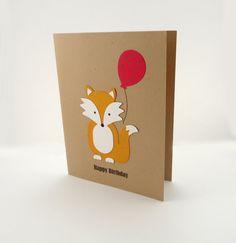 fox party animal card, fox holding balloon card