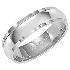 Artcarved White Gold Mens Wedding Band