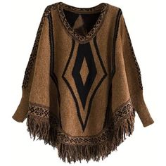 Ladies Crew Neck Batwing Sleeve Tassel Pullover Sweater Brown