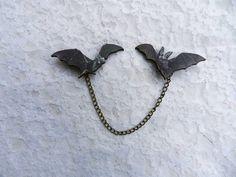 Bat Sweater Guard Brooch Halloween Spooky Gothic by AbbiesAnchor