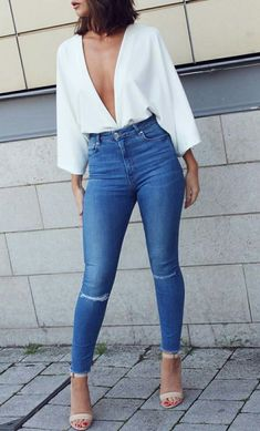 Pair high-waisted jeans with a plunging neckline and heels for a night out. Let Daily Dress Me help you find the perfect outfit for whatever the weather! Dinner Outfits, Night Outfits, Casual Outfits, Spring Outfits, Party Outfit Casual, Evening Outfits, Club Outfits, Cute Outfits For Party, Casual Heels Outfit