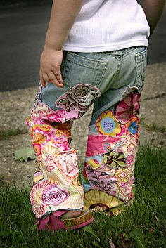 Cute way to upcycle kids jeans! Maybe add some lace too! <3