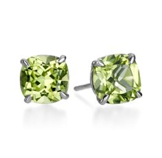 Michael C. Fina - Candy Collection Sterling Silver Square Peridot Earrings