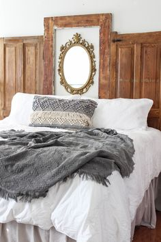 How to Make a DIY Headboard and Bed Frame - Beauty For Ashes - A step by step t.How to Make a DIY Headboard and Bed Frame - Beauty For Ashes - A Bed Frame, Homemade Beds, Headboard, Frame Headboard, Bed, Bed Styling, Kids Bed Canopy, Rustic Bed Frame, Bed Frame Design