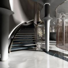 QATAR VILLAS Mall Design, Home Design, Decor Interior Design, Luxury Interior, Interior Architecture, Black Rooms, Stair Handrail, Column Design, Interior Stairs