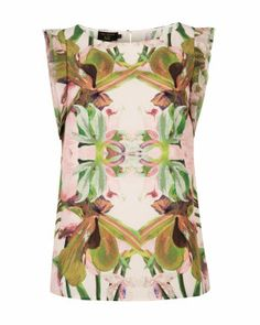 JUNGLE ORCHID PRINT SS TOP