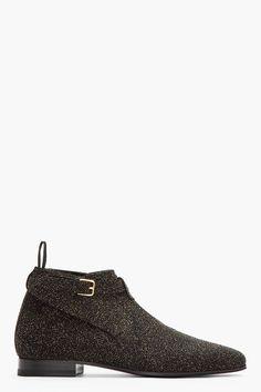 Saint Laurent Black  Gold Cropped Jodhpur Boots for men | SSENSE