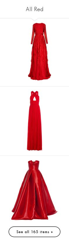 """All Red"" by anniebenny ❤ liked on Polyvore featuring dresses, gowns, long dresses, evening gowns, giambattista valli, red, red evening gowns, long red dress, red bow dress and red dress"