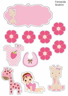 Kids Scrapbook, Scrapbooking, Imprimibles Baby Shower, Diy Photo Booth Props, Paper Cake, Polymer Clay Flowers, Flower Backgrounds, Baby Crafts, Printable Stickers