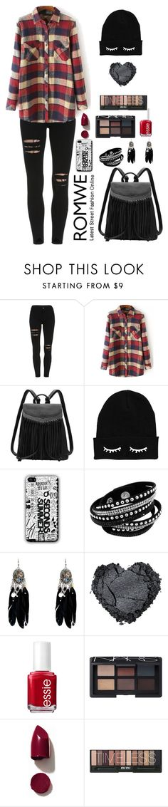 """""""Romwe 8"""" by amra-f ❤ liked on Polyvore featuring Essie, NARS Cosmetics, black, 1d, romwe, plaid and 5sos"""
