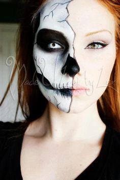 Half skeleton makeup, Halloween, wearing that to school! | boo ...