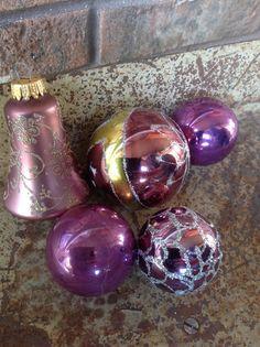 Vintage Plum/Purple Christmas Ornament Set by BirchTreeLane Purple Christmas Ornaments, Christmas Ornament Sets, Christmas Decorations, Holiday Decor, Purple Colors, Plum Purple, Shades Of Purple, Vintage Ornaments, Glass Ornaments