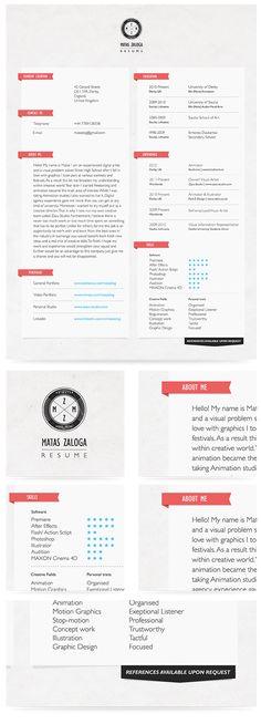 Resume 2012 by Matas Zaloga, via Behance