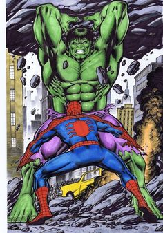 #Hulk #Fan #Art. (Spiderman vs The Hulk) By: Joseph Mackie. ÅWESOMENESS!!!™ ÅÅÅ+