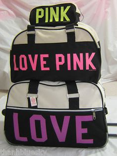 Victoria's Secret NWT LOVE PINK Black Logo 3 Piece Luggage Set ...