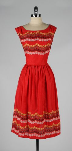vintage 1950s dress . red cotton floral by millstreetvintage