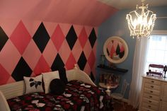 Love the patterned wall, Kaity wants a Monster high room and this would work.