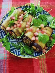 Badrijani nigvzit (roulés d'aubergine du Caucase, aux noix et grenade)