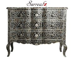Mother of Pearl - Black Scroll Sariska Mahal Sideboard / Chest of drawers - fusion between Indian Art and French baroque design