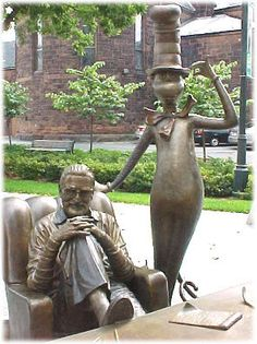 Dr. Seuss with Cat in the Hat at the quadrangle, Springfield, MA
