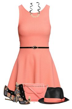 """""""Coral & Black"""" by amber-1991 ❤ liked on Polyvore featuring H&M, Vera Bradley, rag & bone, Forever New, Mawi, Clyda, SJP, Rebecca Minkoff, women's clothing and women"""