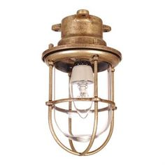 Ceiling Mounted Brass Ship's Light in Antiqued Brass made by Jim Lawrence