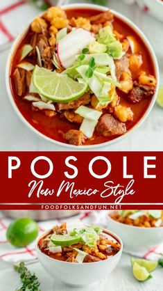 New Mexico Posole Recipe - Pozole Rojo This New Mexico Posole recipe is a hearty, flavorful pork soup or stew that is made with New Mexico red chiles, garlic, pork, and hominy. Authentic Mexican Recipes, Mexican Food Recipes, Dinner Recipes, Mexican Desserts, Spanish Recipes, Pozole Recipe Pork, Posole Recipe Easy, Authentic Posole Recipe Pork, Posole Recipe New Mexico