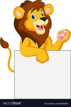 Happy lion cartoon holding blank sign vector image on VectorStock Boarder Designs, Page Borders Design, Cartoon Cartoon, Cute Animal Drawings, Cute Drawings, Disney Scrapbook Pages, Scrapbooking, Blank Sign, School Frame