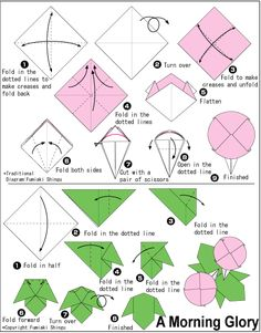 Morning Glory Folding Diagram and Folding Instructions Modular Origami, Origami Folding, Useful Origami, Paper Crafts Origami, Diy Origami, Paper Piecing, Origami Instructions For Kids, Origami Leaves, Origami Lily